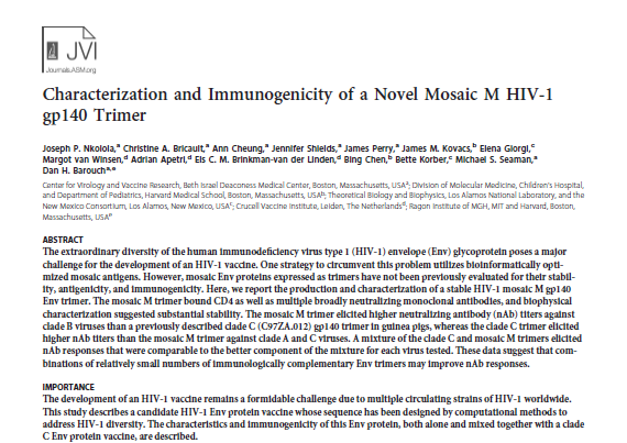 Characterization and Immunogenicity of a Novel Mosaic M HIV-1 gp140 Trimer