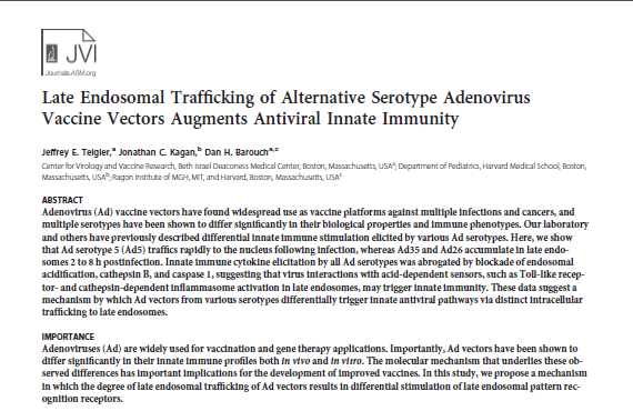 Late Endosomal Trafficking of Alternative Serotype Adenovirus Vaccine Vectors Augments Antiviral Innate Immunity