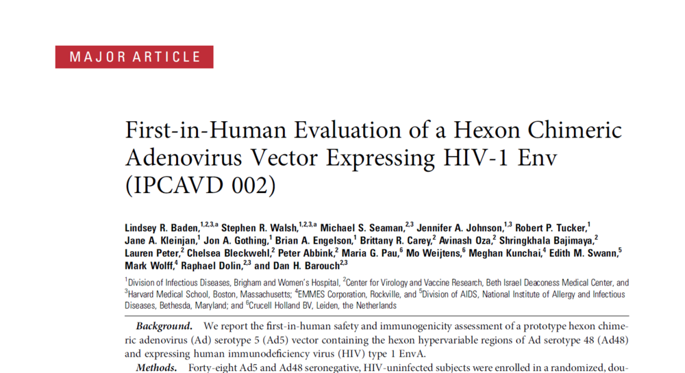 First-in-Human Evaluation of a Hexon Chimeric Adenovirus Vector Expressing HIV-1 Env (IPCAVD 002)