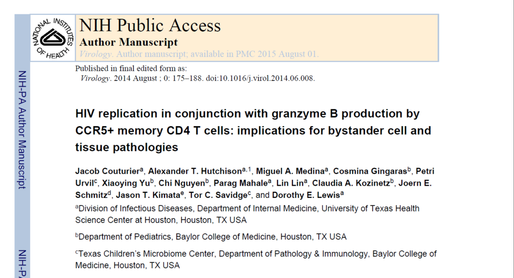 HIV replication in conjunction with granzyme B production by CCR5+ memory CD4 T cells: implications for bystander cell and tissue pathologies