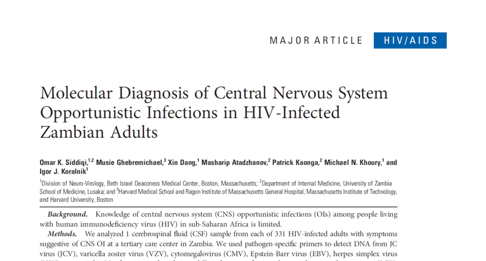 Molecular Diagnosis of Central Nervous System Opportunistic Infections in HIV-Infected Zambian Adults