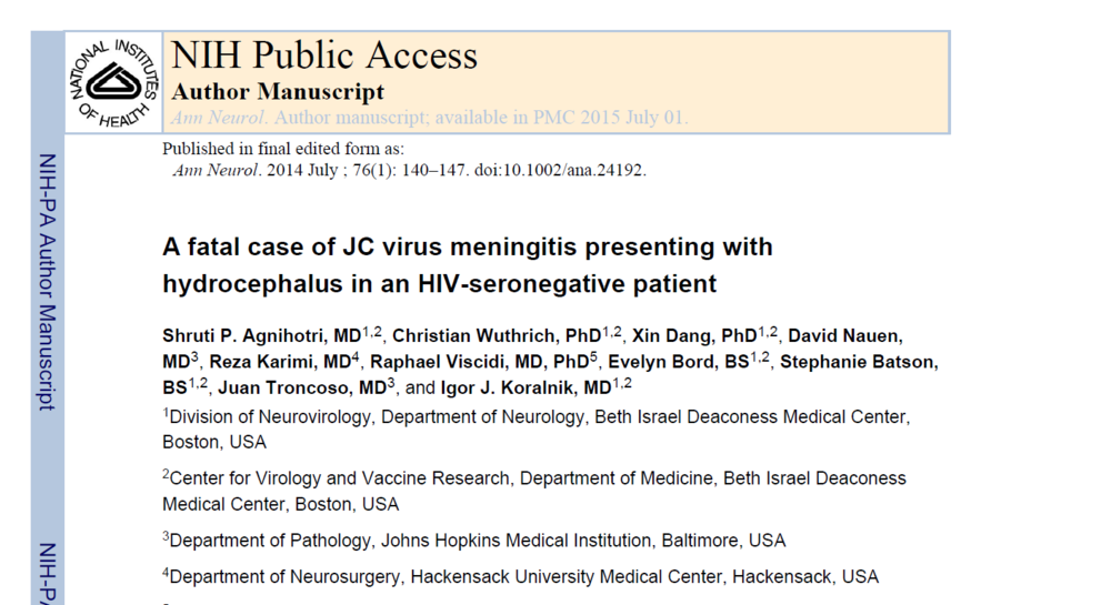 A fatal case of JC virus meningitis presenting with hydrocephalus in an HIV-seronegative patient