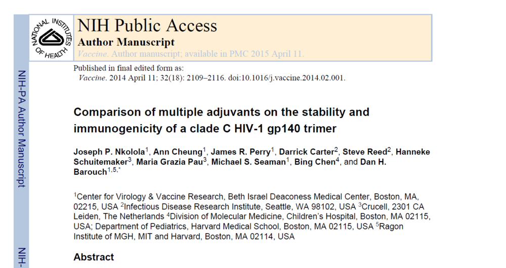 Comparison of multiple adjuvants on the stability and immunogenicity of a clade C HIV-1 gp140 trimer