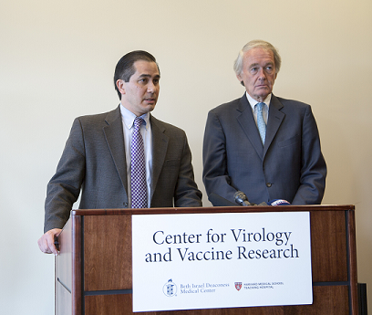 Dr. Dan Barouch and Senator Markey speak to other doctors and researchers in the Center about the importance of Zika research.