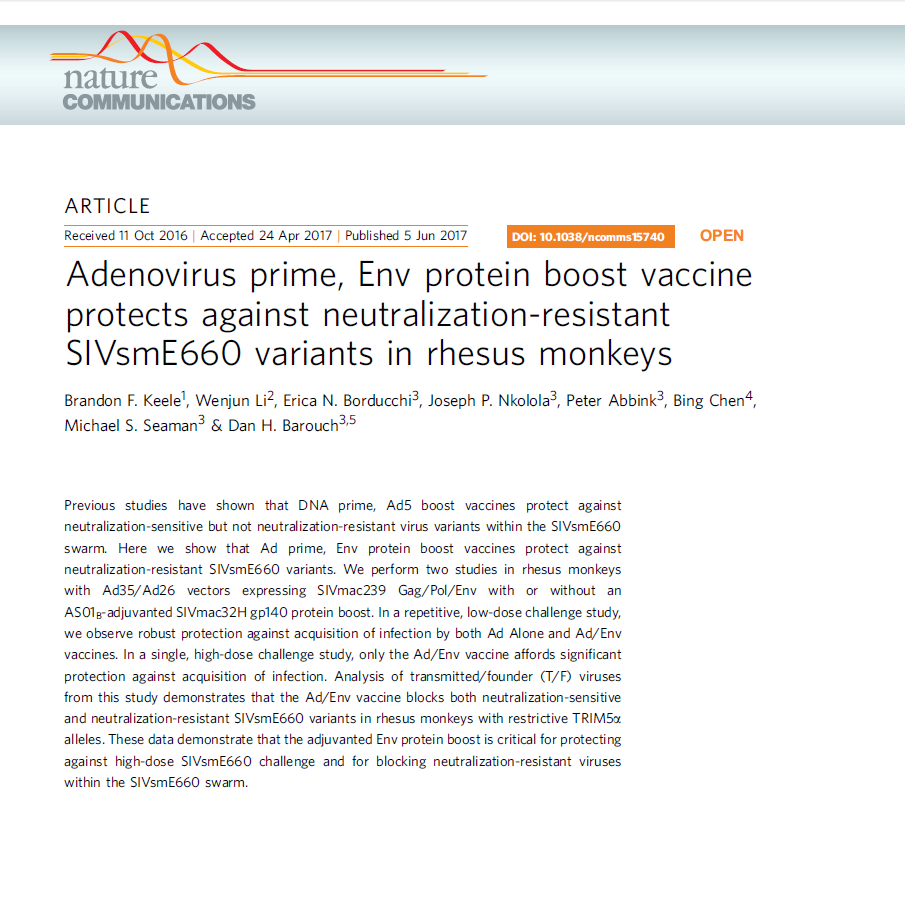 Adenovirus prime, Env protein boost vaccine protects against neutralization-resistant SIVsmE660 variants in rhesus monkeys