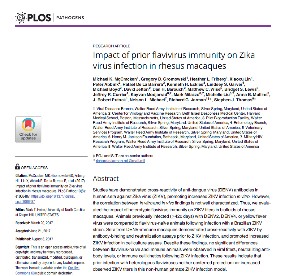 Impact of prior flavivirus immunity on Zika virus infection in rhesus macaques