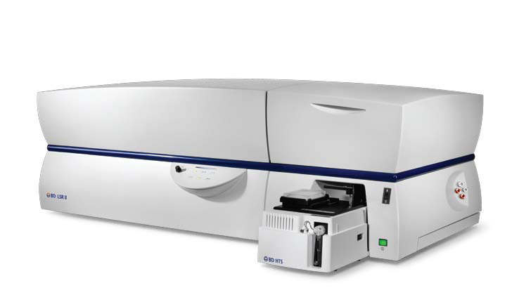 BD LSRII - Two BD LSR II analyzers, each equipped with 4 solid state lasers: 405nm violet measuring up to 7 parameters,  488nm blue measuring up to 5 parameters in addition to FSC and SSC,  a 640nm red measuring up to 3 parameters, and a 355 nm UV laser measuring 3 parameters allowing panels of up to 18 fluorescent markers
