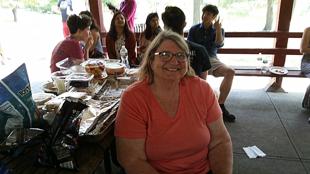 Staff Scientest Dr. Lori Maxfield enjoys the picnic as one of Dr. Barouch's longest employees!