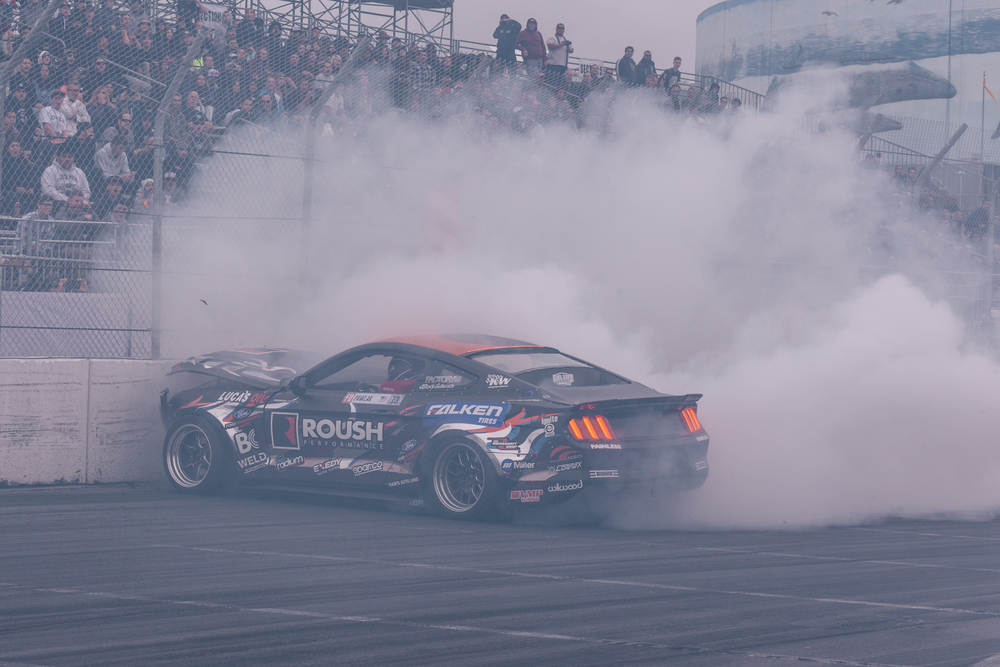 Justin Pawlak in the Roush Performance Mustang heads in to the wall during the rainy practice session in Long Beach, California.
