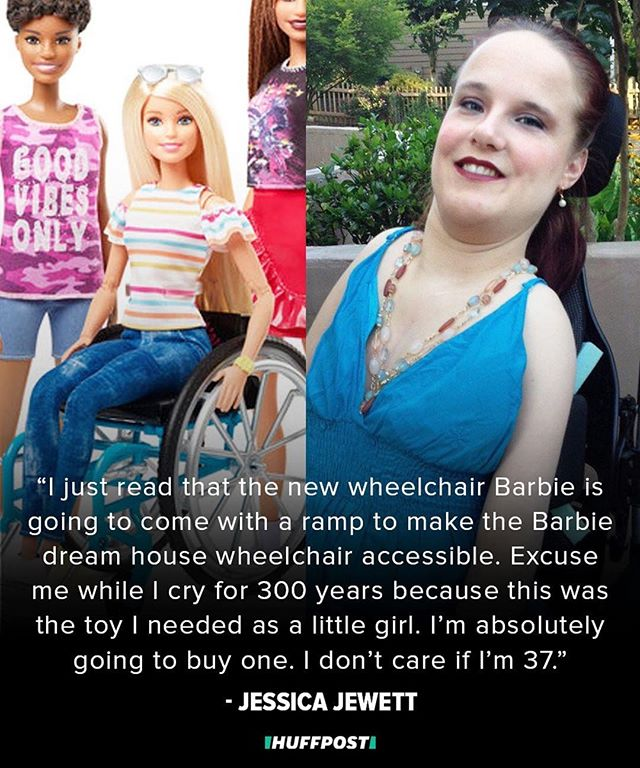 "@huffpost: You're never too old to play with Barbie ― especially when you've been waiting 37 years for one you can see yourself in. Jessica Jewett is a Georgia-based author and artist who was born with arthrogryposis multiplex congenita and uses a wheelchair. When she learned this week through Instagram that the iconic doll brand is expanding and diversifying its offerings to include a Barbie with a prosthetic limb and a Barbie who uses a wheelchair, she had an emotional reaction. ""It just took me back to being 5, 6, 7 years old, asking my mom and grandma why there aren't dolls that look like me,"" she told HuffPost. ""I used to ask all the time why Barbie's parent company Mattel couldn't make a wheelchair for the doll."" It's a long time coming for Jewett, who wrote on Twitter Tuesday that this was the toy she ""needed as a little girl."" Growing up in the '80s, she has no memory of seeing herself represented in dolls and toys like her friends did. ""I would just start making up my own thing instead, which is probably why I became a writer,"" she said. ""I ended up having to make up my own stories that had nothing to do with me, because there was nothing like me out there."" That lack of representation and accessibility followed Jewett into other aspects of her life, as well. At her elementary school, the special education classrooms were in a back room, where she said the teachers were more like babysitters than actual teachers. ""I used to sort of have this feeling from a really young age that I was different, but not understanding why that difference was something to be hidden,"" she said. She went from shy kid to child advocate at just 12 years old, when her middle school refused to build an entrance ramp for her to use. // 📸: Mattel & Jessica Jewett"
