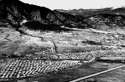 When oil was a good thing: Initial suburban housing going up along US 36 in Boulder in late 1950's-early 1960's. 4 homes per acre. $15,000+ per house!
