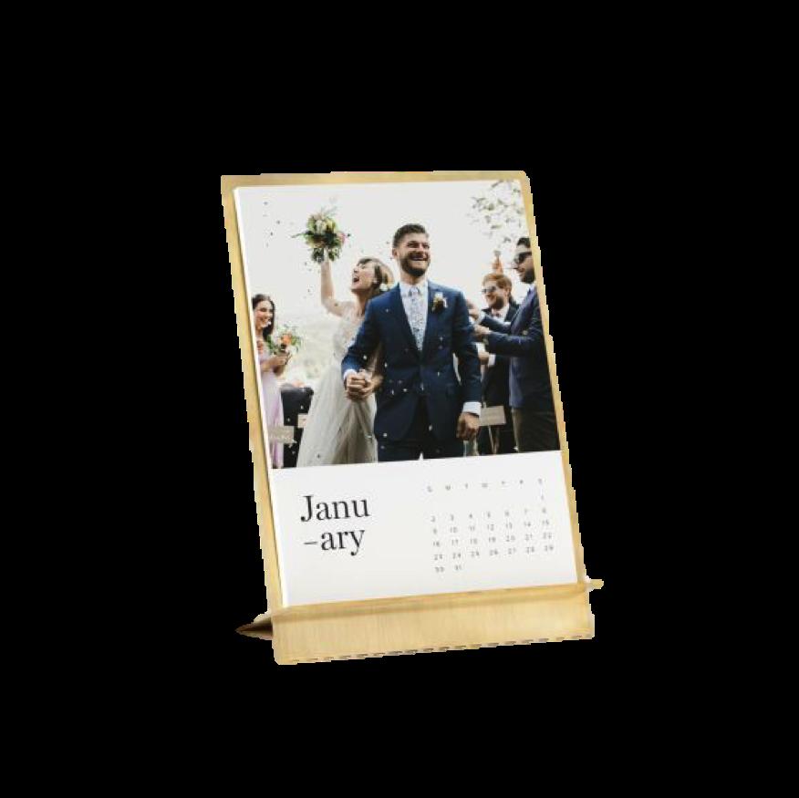 Brass Easel + Calendar, $48