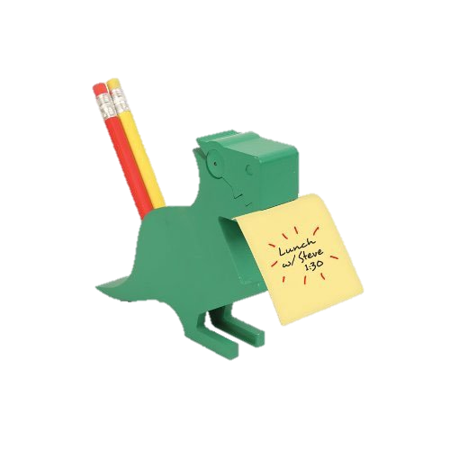 Dinosaur Memo Holder - This fun Dinosaur Memo Holderwith storage for pens and pencils is pretty wild.