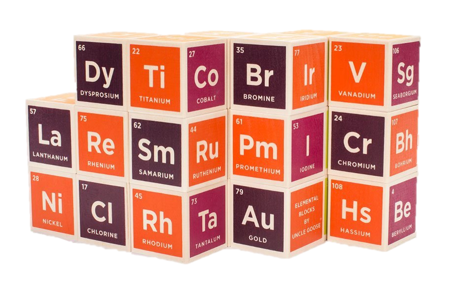 periodic building blocks - A fun way to learn their periodic table of elements, these blocks are handmade in the USA with sustainable Michigan grown basswood.