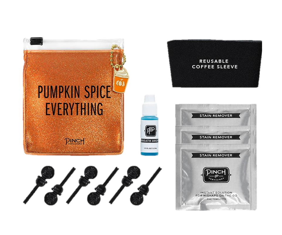 Pumpkin Spice Coffee Kit - Know someone who loves Pumpkin Spice Lattes? This kit comes with a reusable sleeve, stain removing towelettes, drink stoppers, and breath drops so they can get their #PSL on.