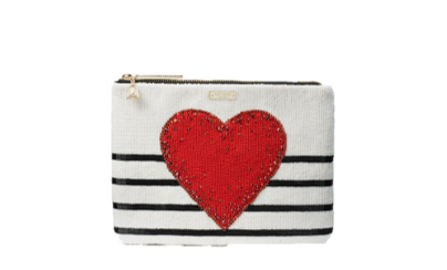 Embellished Heart Clutch, $198