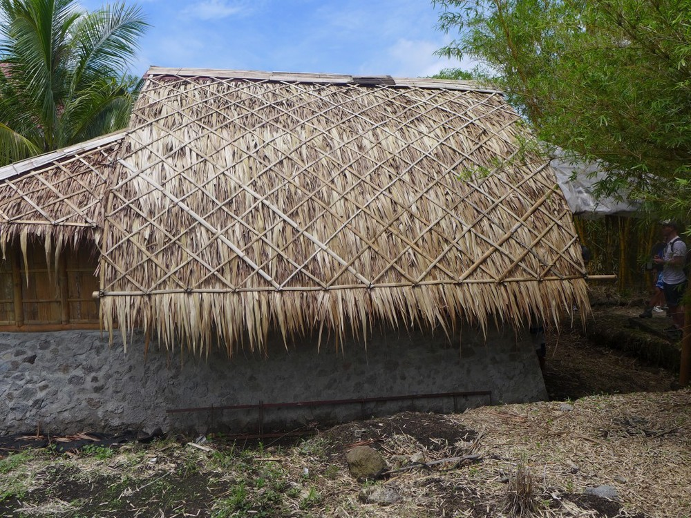 [Thatch is easy to replace, offers protection from the sun, and won't chop your head off in a typhoon]