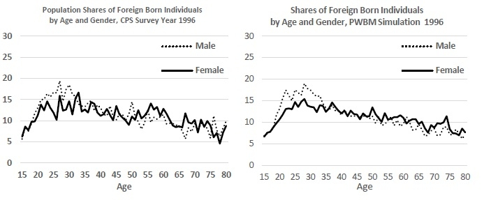 Figure 4: Shares of Male Immigrants in Total Population by Year and Age - PWBMsim 1996 and 2015