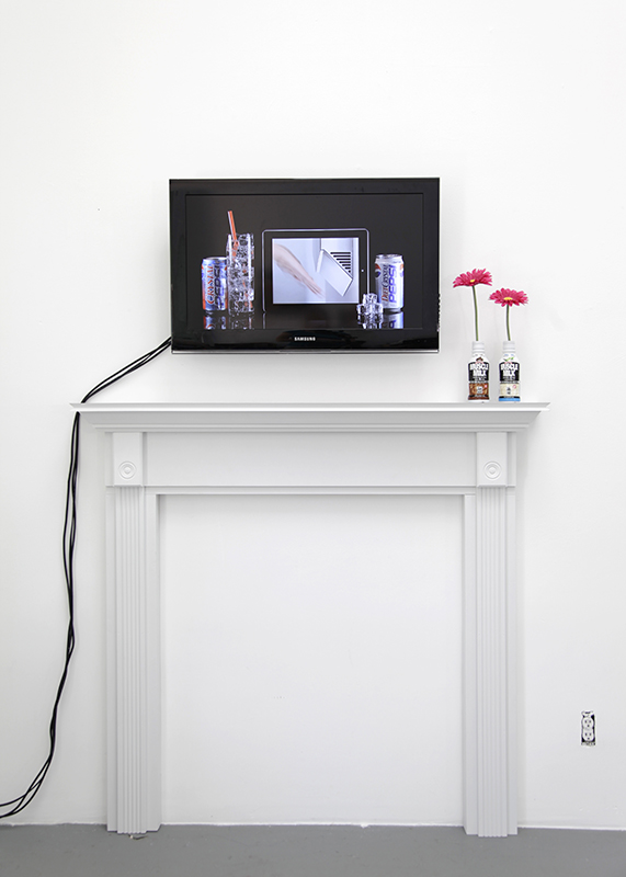 "Crystal Pepsi Apple IPad Dyson Airblade, 2014, HD video, 3:08 and Mantel 2, 2014, MDF, wood, paint, objects, 55"" x 52"" x 7"""