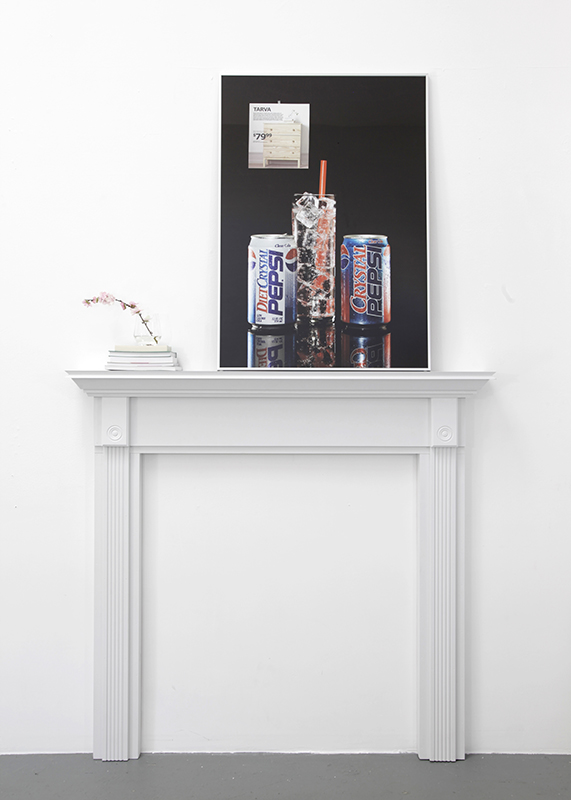 "IKEA Crystal Pepsi, 2014, Archival inkjet print, catalog page, frame, 39 ¼"" x 28"" and Mantel 1, 2014, MDF, wood, paint, objects, 55"" x 52"" x 7"""
