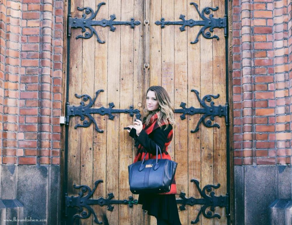 Noelle Lynne photographed by Nicholas Counts at Kulturkirken Jakob in Oslo, Norway Vintage Coat, Rebecca Taylor Knit Black Dress, Tote bag by Alexandra K Vegan Handbags, Vintage Amethyst Ring