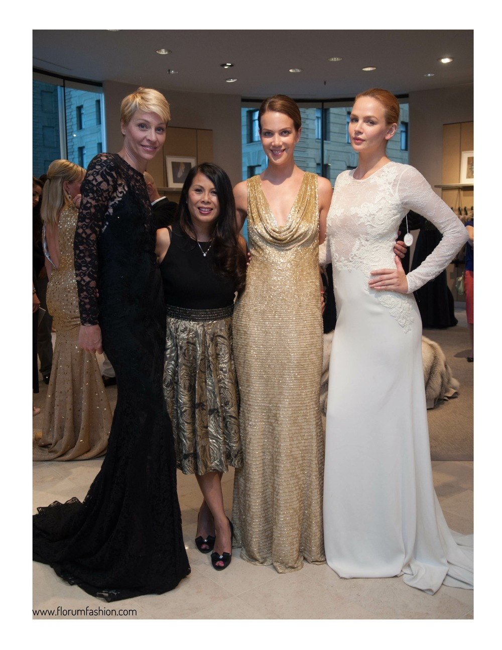 Bay Area Arthritis Auxiliary Fashion Show Chair Sharon Seto wearing Carmen Marc Valvo