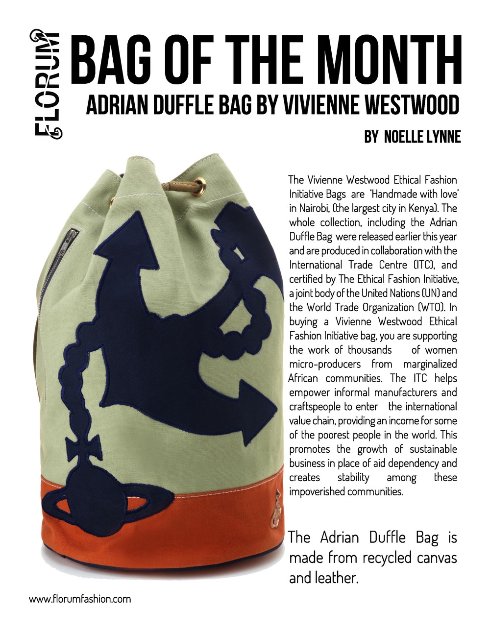 Florum Fashion Magazine Bag of the Month by Noelle Lynne feat Vivienne Westwood