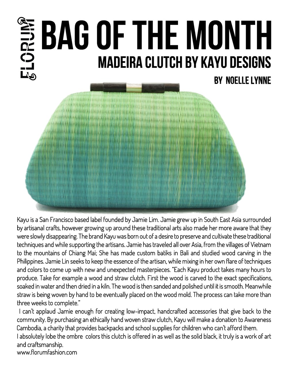 Noelle Lynne Florum Fashion Magazine Sustainable Bag of the Month Madeira Clutch Kayu Designs