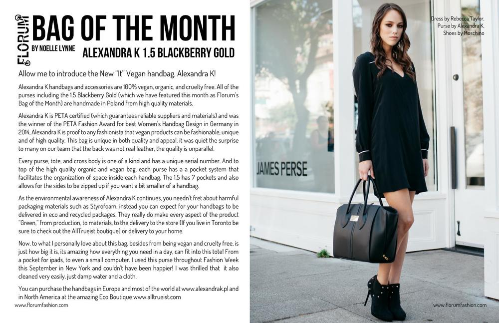 Noelle Lynne Florum fashion magazine Bag of the month Alexandra K vegan purse Cate Chant Ethical Handbag