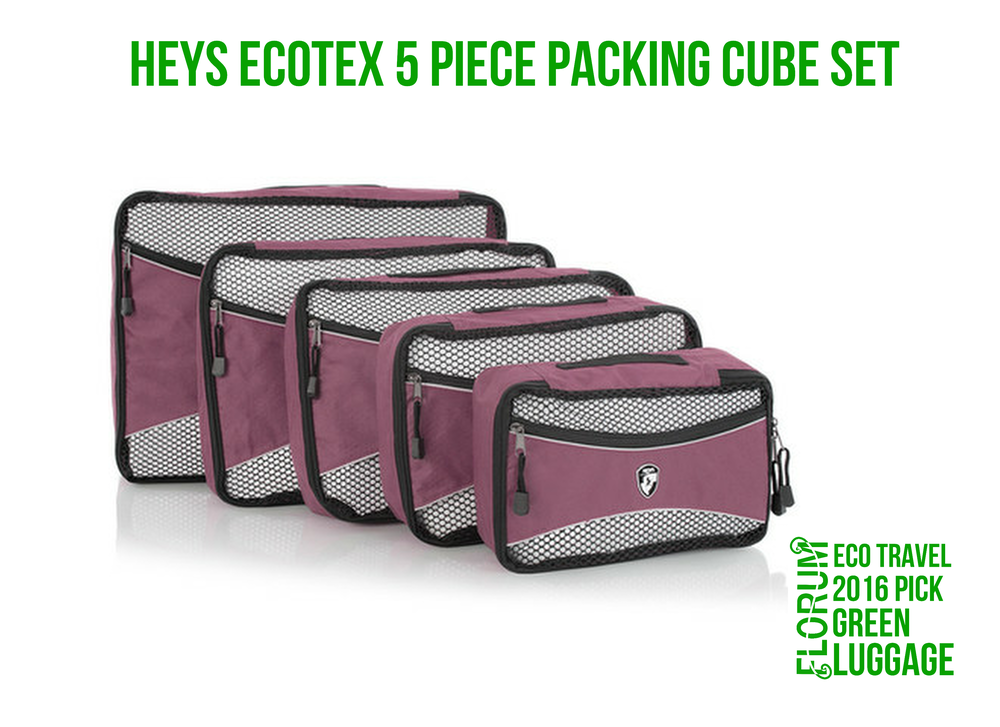 Florum Eco Travel 2016 Green Luggage Pick - Heys EcoTex 5 Piece Packing Cube Set - by Noelle Lynne