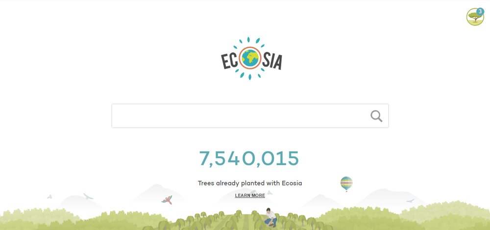 If you look at the top right corner you can see how many trees I planted since discovering EcoSia as my new search engine!