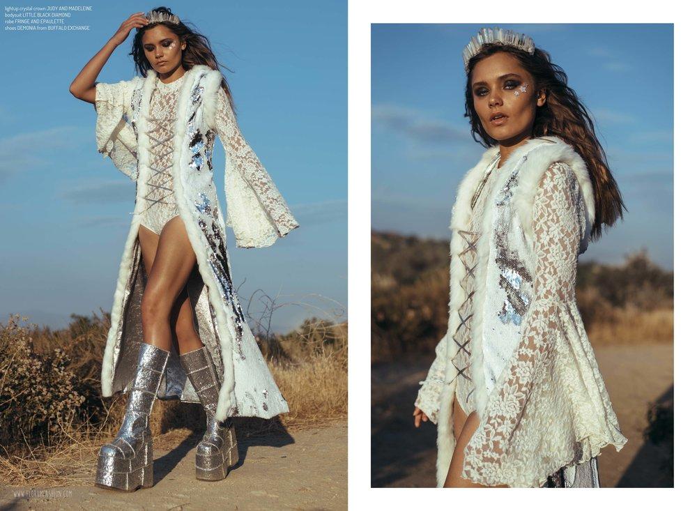 sequin goddess robe FRINGE AND EPAULETTE  I   shop    HERE  I  lightup crystal crown   JUDY AND MADELEINE  I   shop    HERE  I  lace bodysuit LITTLE BLACK DIAMOND  I   shop    HERE