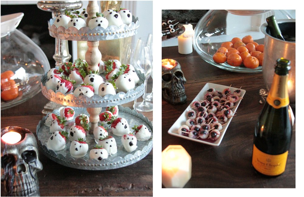 halloween party ideas Florum Fashion Magazine Beeswax Northern Lights Candles lychee eyeballs breadsticks veuve clicqout champagne creepy cute freaky Noelle Lynne oreo bats skulls chocolate covered strawberries