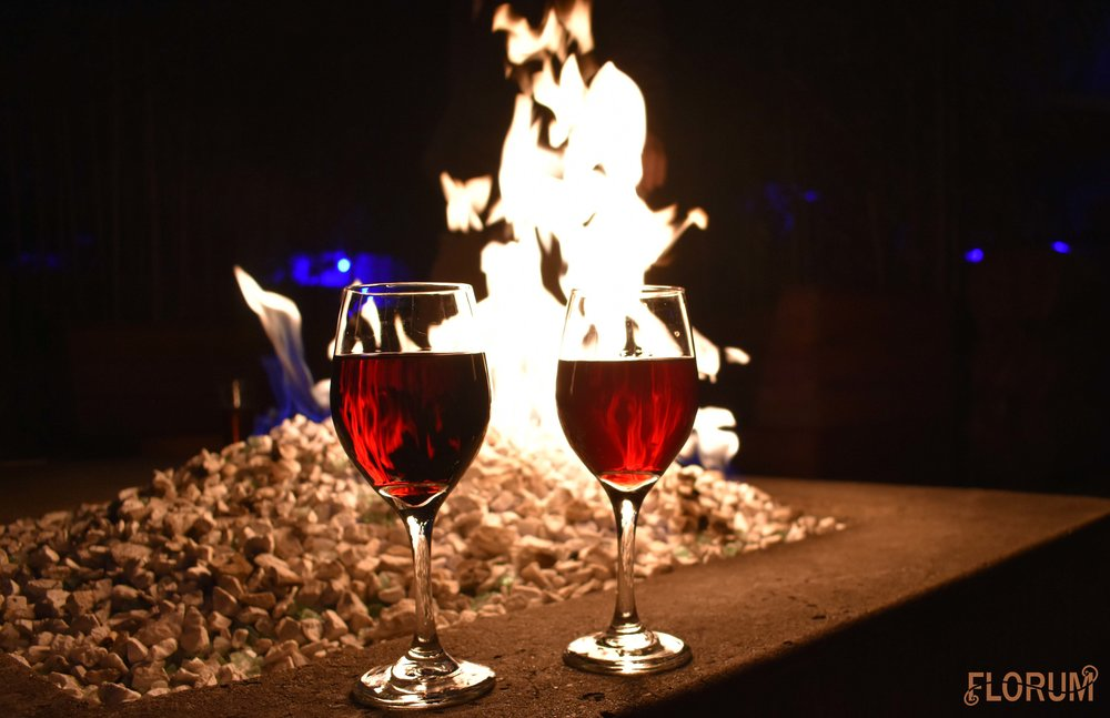 After dinner at Noble Rot, I loved sitting by the fire at the Jupiter Hotel's bar for some wine and warmth.