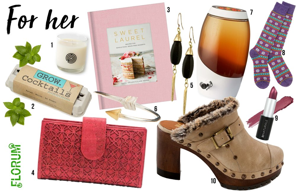 Noelle Lynne Holiday Gift Guide 2017 Florum Fashion Magazine Sustainable Vegan Fairtrade Organic made in USA Christmas Hanukkah Au Naturale Uncommon Goods Bead and Reel Cork Madison Wallet grow your own cocktail keap bk