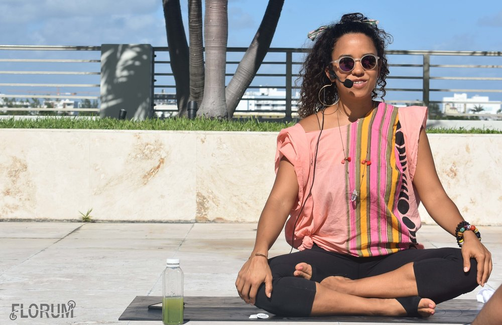 Pictured above is   Francine Madera   the meditation teacher for the class I attended on Wednesday of Art Week Miami 2017. I absolutely loved that she was wearing an ethical fair trade top from sustainable fashion brand   The Onikas  . For an hour I was able to clear my mind and give myself a little reboot before stepping back into the craziness of Basel. For those who haven't been and aren't sure what I mean by 'craziness,' Art Basel is a week of Art Fairs (19 big fairs and many small ones), PR events (from liquor to fashion brands)  while trying to run around South Beach and Downtown trying to fit everything into the day (which I can tell you is pretty much impossible to do everything that you want to do, so stress levels are at a high).