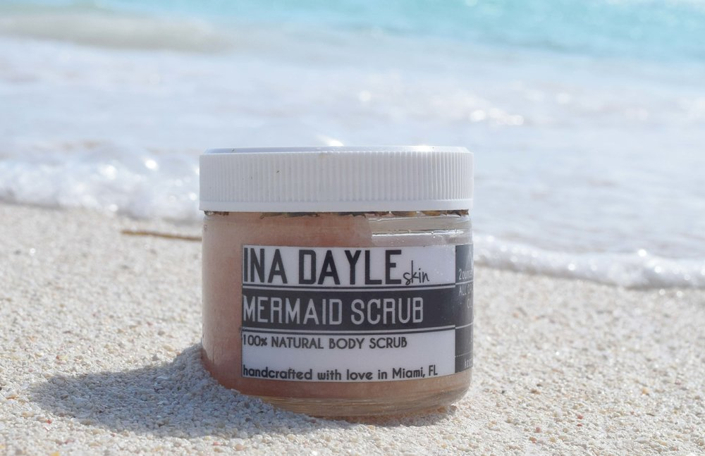 While sand is a wonderful natural body scrub, this Mermaid Scrub from Ina Dayle is one of my favorite alternatives to the beach exfoliation. Sometimes I use this as an alternative to shaving cream (of course I rinse away the chunks so that the hydration from the oil is only left). As an added bonus to this scrub being 100% organic, with each purchase of an Ina Dayle skincare product they donate $1 to Lyme Disease Research.  You can BUY this scrub HERE via Ina Dayle for $18
