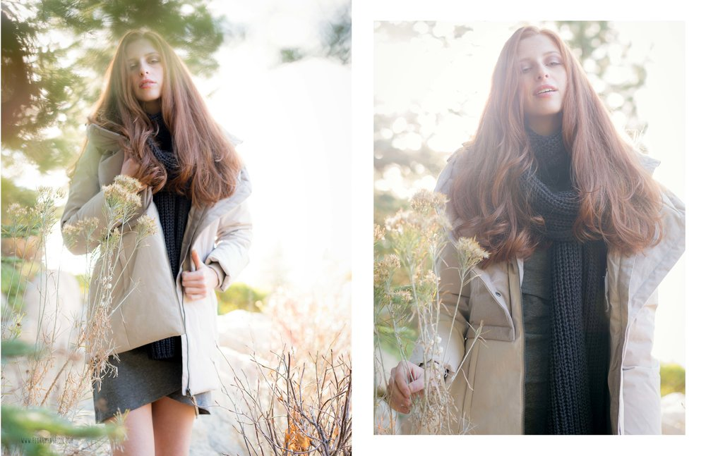 florum fashion magazine Cabin Fever by Joy Strotz - eco wardrobe stylist Noelle Lynne - cast images - synergy organics - fig clothing - ankedot organics - natural sustainable cozy comfortable snow looks red hair models