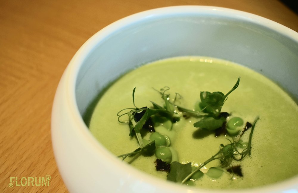 My first course was a lovely asparagus pea soup, I really wish I had been able to catch the presentation as it happened, as the soup was poured into a halo of greens,