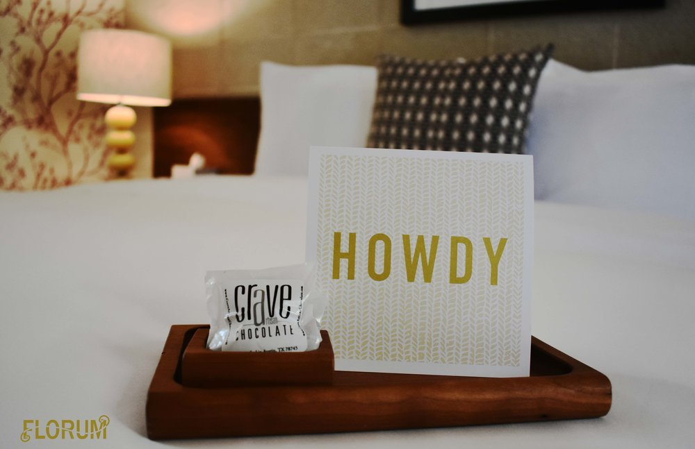 When arriving to my room at the Heywood Hotel, I was greeted with a lovely 'Howdy' letter and a few local Austin artisan chocolates from  Crave .