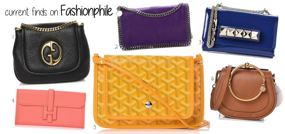 1. pebbled small 1973 chain shoulder bag black  GUCCI   secondhand on fashionphile   $595  originally $850    2. shaggy deer falabella crossbody bright purple  STELLA MCCARTNEY   secondhand on fashionphile   $425  originally $895    3. patent mini va va voom clutch blue  VALENTINO   secondhand on fashionphile   $550  originally $1695    4. epsom jige elan 29 clutch flamingo  HERMES   secondhand on fashionphile   $3095  originally $4395    5. chevron plumet wallet clutch yellow  GOYARD   secondhand on fashionphile   $1395  originally $1995    6. suede small nile bracelet bag caramel  CHLOE   secondhand on fashionphile   $1495  originally $1690