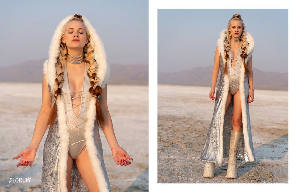 One of my absolute favorite pieces that I got for the playa last year, was the sexy sequin goddess robe from Fringe and Epaulette. Not only is each robe custom made for the customer in Brooklyn, New York, however the goddess rober is also reversible. Last year I styled the robe with the sequins on the outside  ( click here  to check out last years look ) and this year I choose to show off the beautiful silver velvet side.   This is truly a beautiful investment piece that I really look forward to wearing each year on the playa.