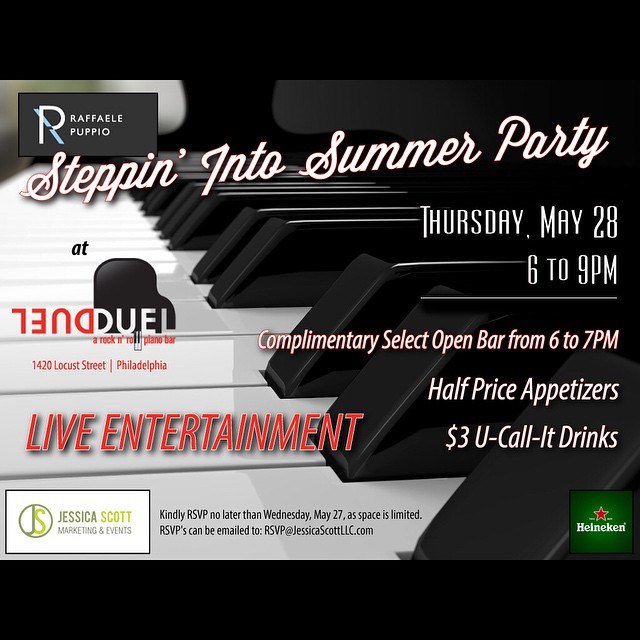 Kick your summer off at Raffaele Puppio's Steppin' Into Summer Party at Duel Piano Bar next Thursday, May 28th from 6-9 PM!!