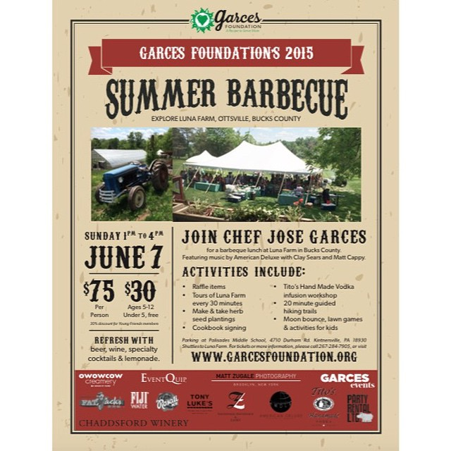 Join Garces Foundation at their 2nd Annual Summer BBQ at Luna Farm on this Sunday, June 7 at 1-4PM! There will be a BBQ lunch, music by American Deluxe, and many activities! See you there! Get your tickets here: http://www.eventbrite.com/e/second-annual-luna-farm-summer-barbecue-tickets-16442953316?aff=eac2