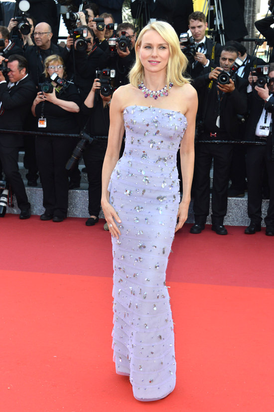 Naomi Watts In an embellished lilac Giorgio Armani Prive gown at the opening ceremony premiere of Café Society.