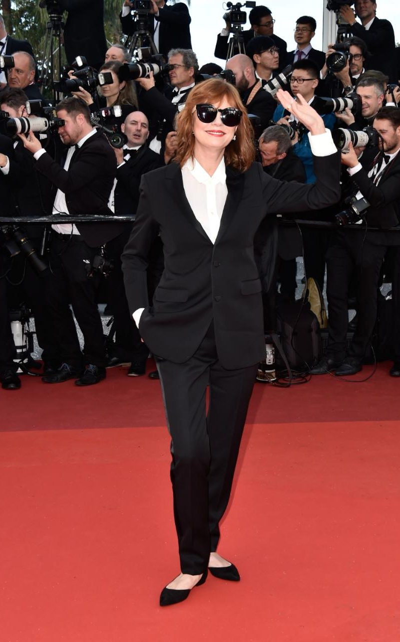 Susan Sarandon In a black Saint Laurent pantsuit at the opening ceremony premiere of Café Society.