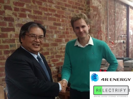 4R Energy President Eiji Makino and Relectrify Co-Founder Valentin Muenzel at Relectrify battery labs in Melbourne, Australia.