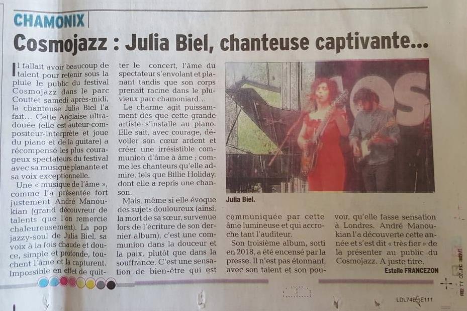 Cosmojazz live review, JULIA BIEL (Le Dauphiné Libéré) 28.07.2018.jpg