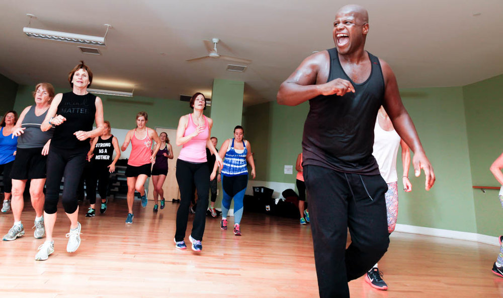 There is no question that Andre, the Zumba instructor, infuses the room with his energy.