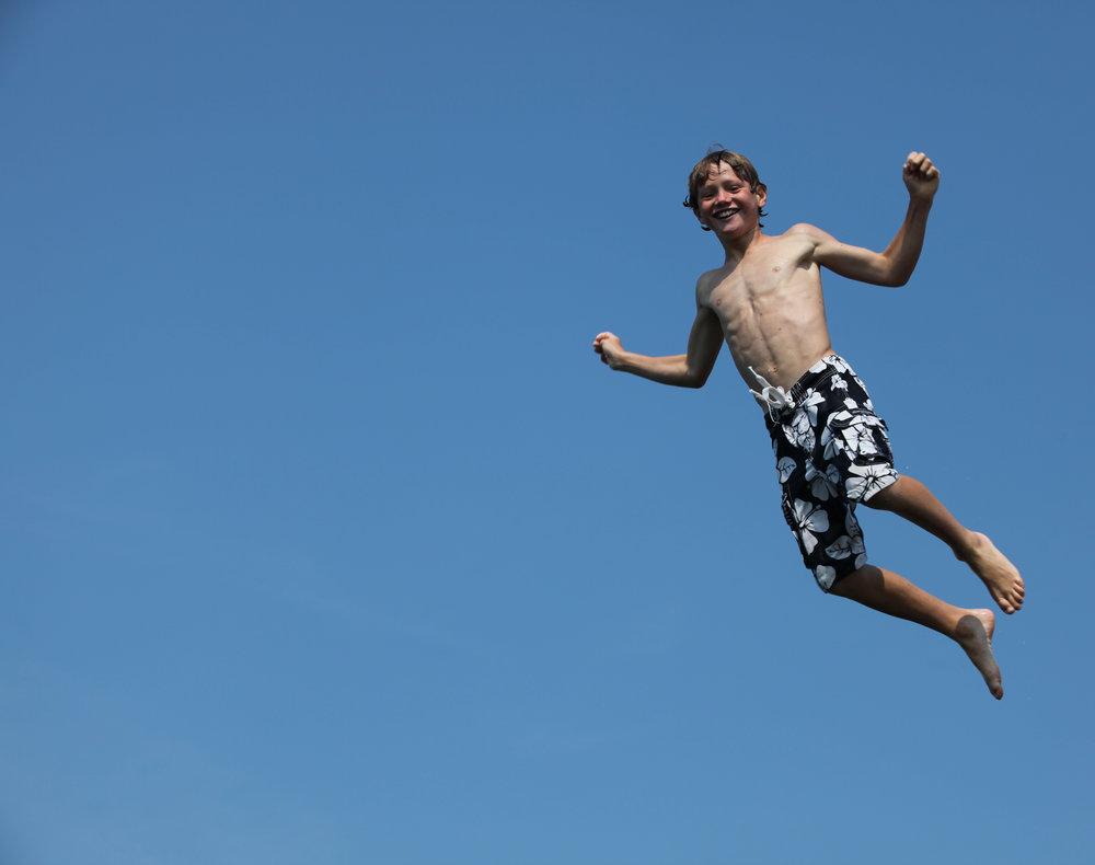 Jumping. -
